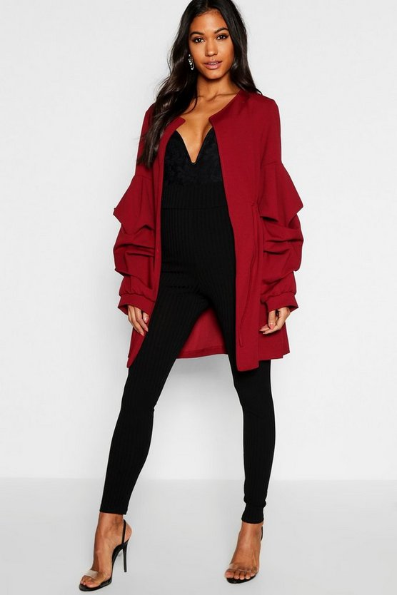 Collarless Ruche Sleeve Duster