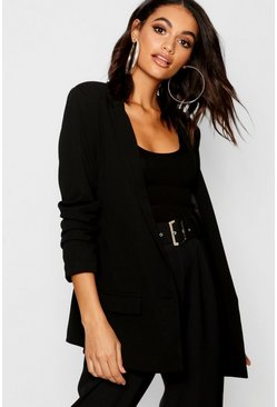 Black Oversized V Detail Ruche Sleeve Blazer