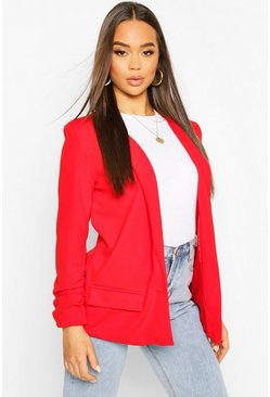 Red Oversized V Detail Ruche Sleeve Blazer