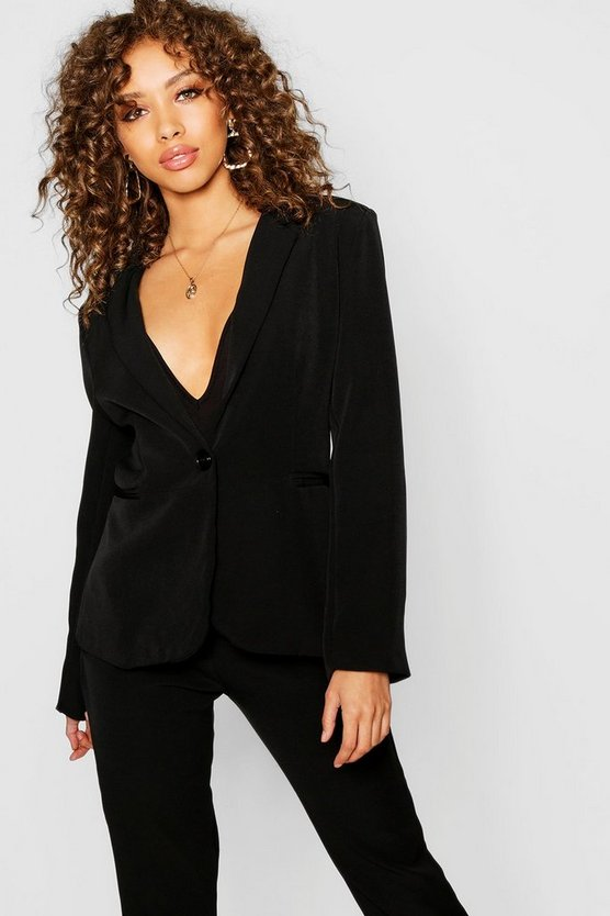 Womens Black Woven Pocket Blazer