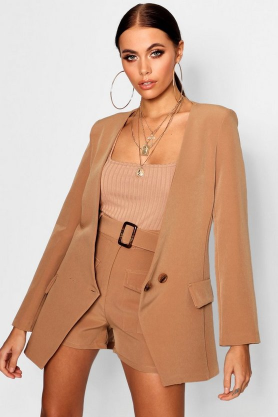 Horn Button Cut Out Blazer Jacket