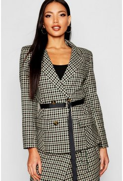 Womens Green Woven Mini Check Belted Blazer
