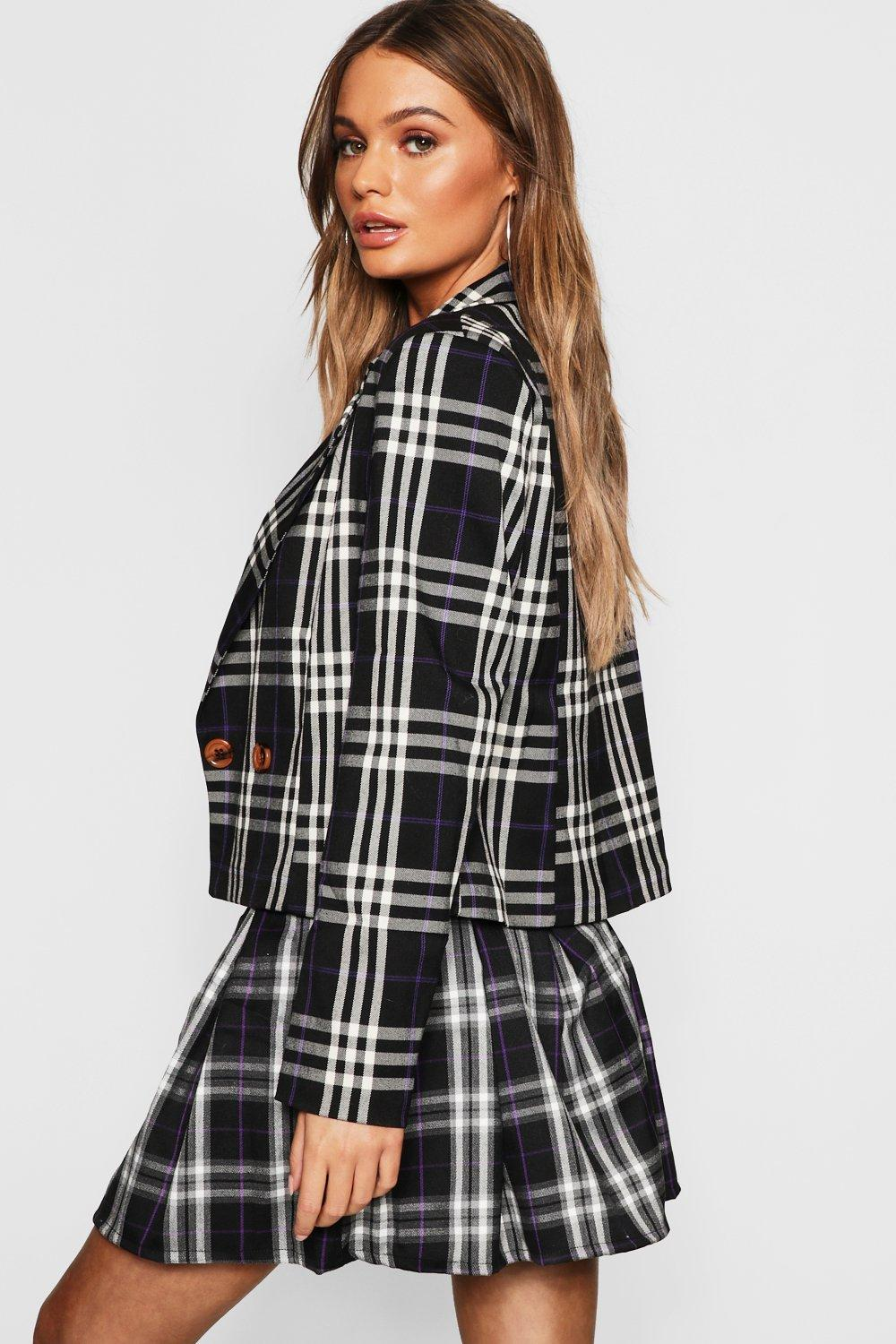 black Blazer Boxy Check Double Breasted FwHcY0