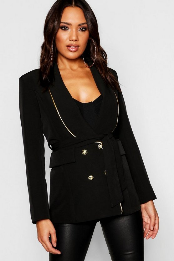 Womens Black Woven Military Gold Piping Double Breasted Blazer