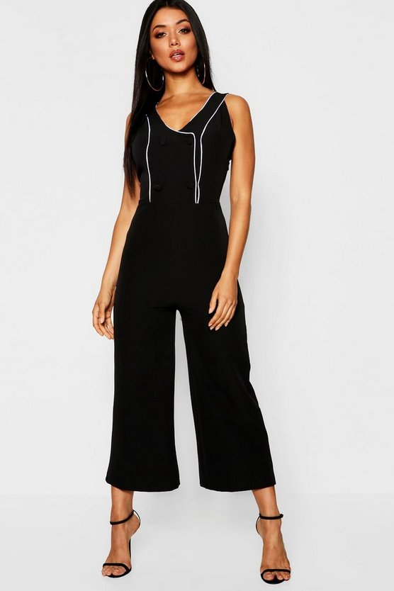 Double Breasted Pipe Detail Jumpsuit