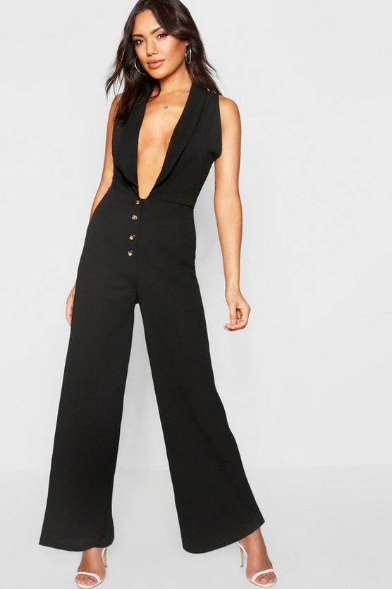 Plunge Horn Button Jumpsuit