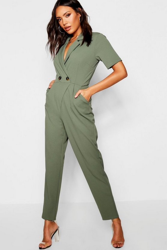 Horn Button Blazer Jumpsuit