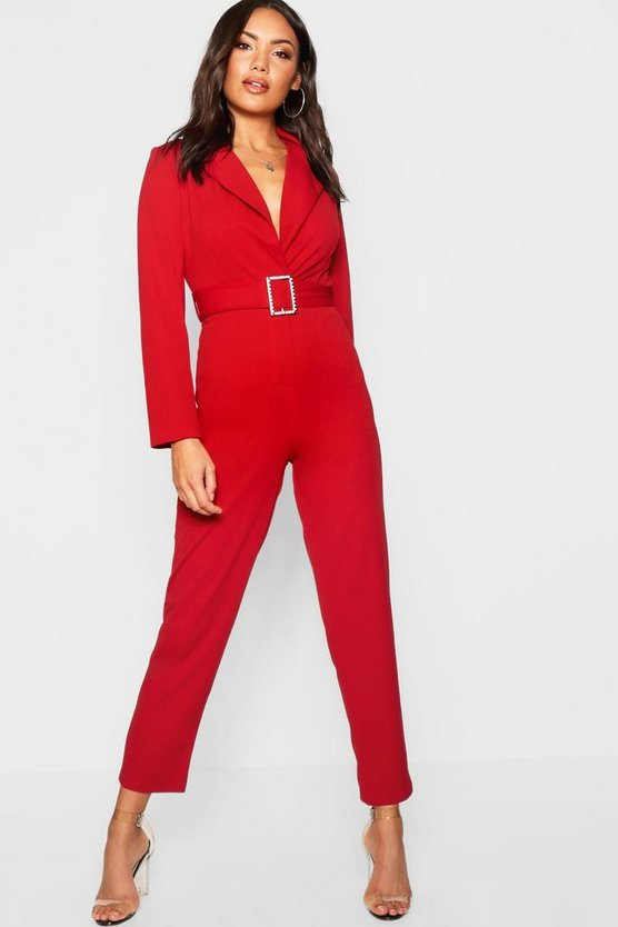 Diamante Buckle Belted Jumpsuit