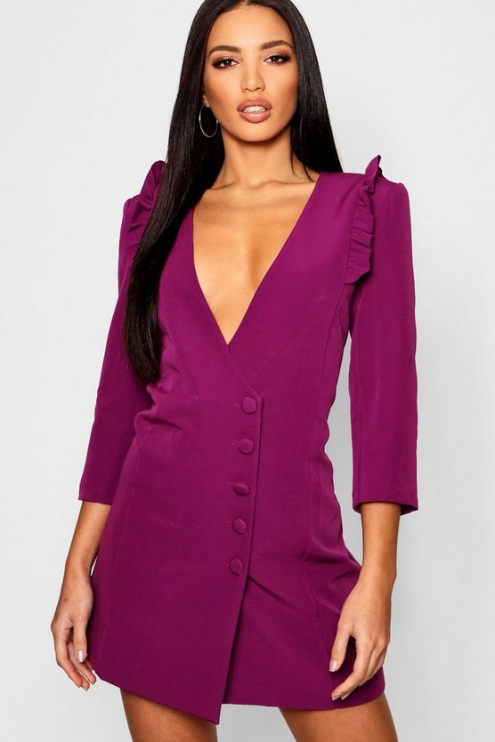 Woven Ruffle Shoulder Button Detail Blazer Dress