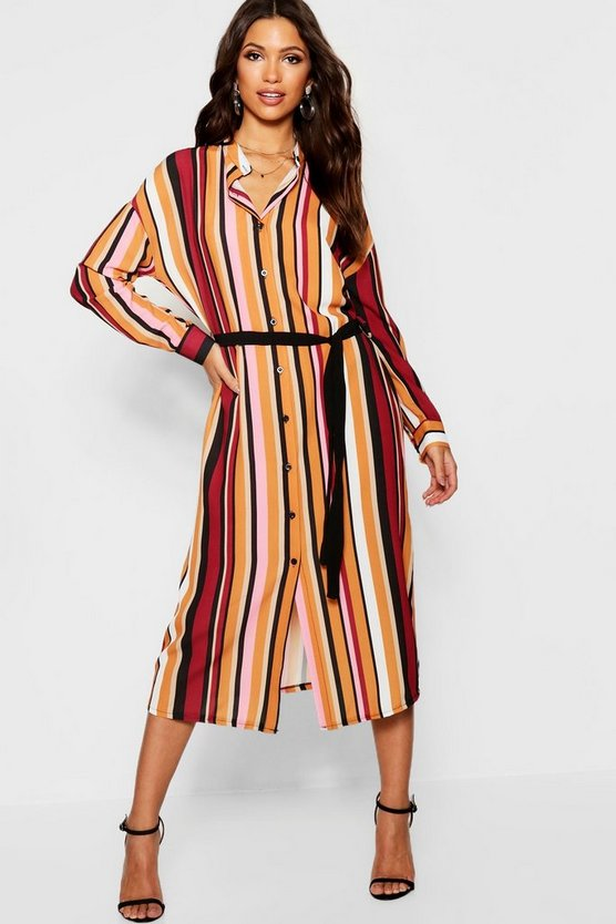 Woven Stripe Tie Belt Shirt Dress