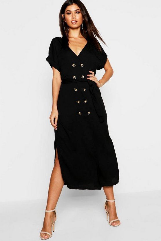 Woven Double Breasted Horn Button Split Midi Dress