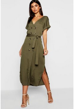 Womens Woven Double Breasted Horn Button Split Midi Dress