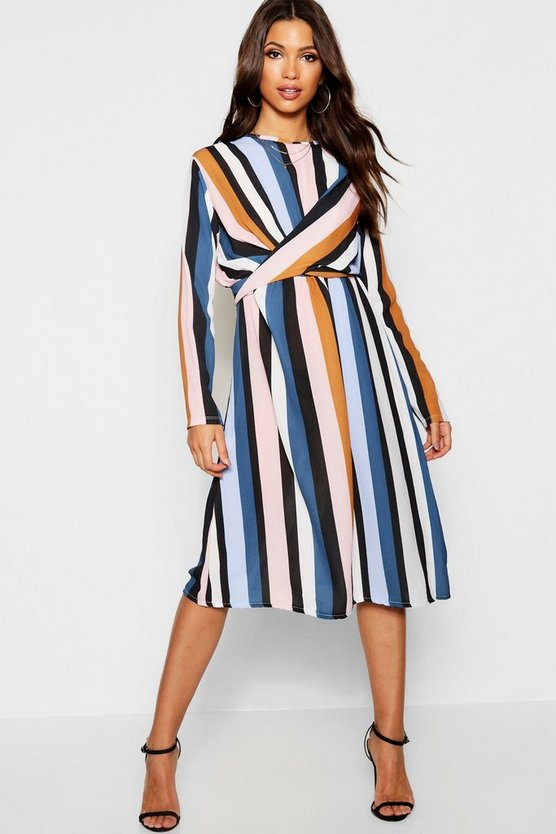 Stripe Wrap Woven Tie Waist Detail Dress