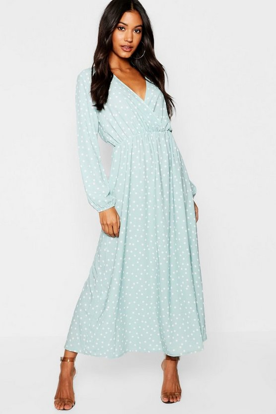 Wrap Spot Maxi Dress With Split