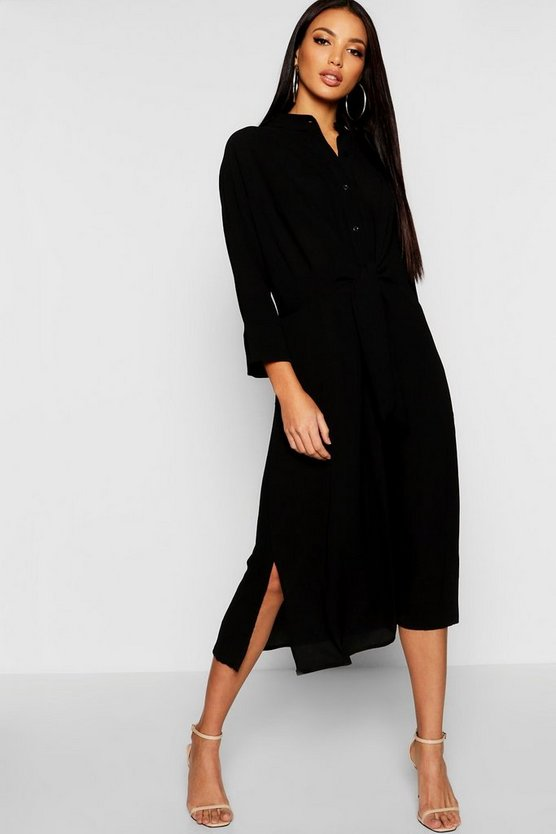 Tie Waist Collarless Midi Dress
