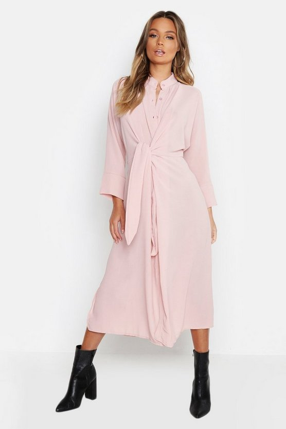 Womens Soft pink Tie Waist Collarless Midi Dress