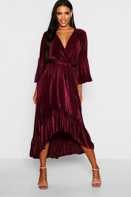 Pleated Wrap Hanky Hem Dress