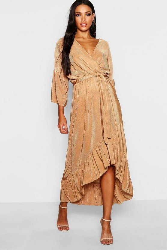 Womens Camel Pleated Wrap Hanky Hem Dress