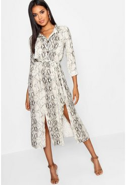 Snake Tie Belt Split Detail Midi Dress, Natural