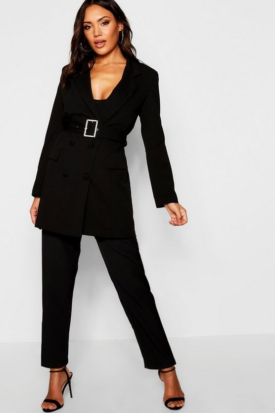 Diamante Belted Blazer Dress