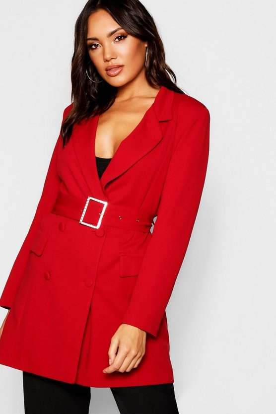 Red Diamante Belted Blazer Dress