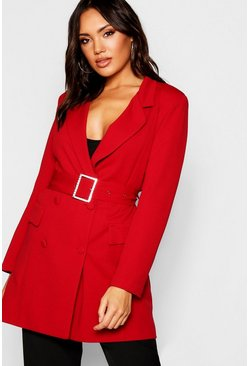 Womens Red Diamante Belted Blazer Dress