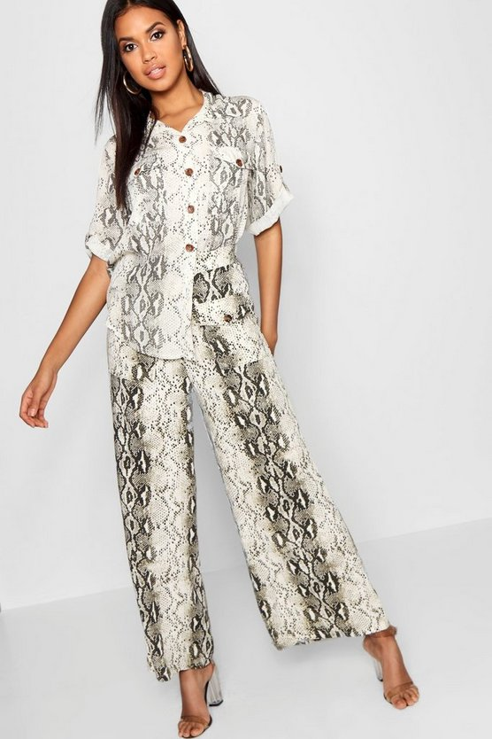 Snake Print Double Pocket Wide Leg Cropped Pants