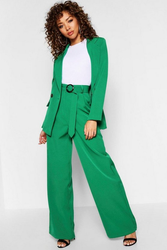 Green High Waisted Tort Shell Belt Wide Leg Pants