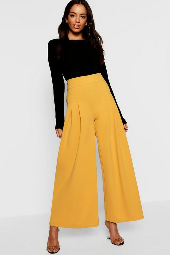 Woven Pleat Front Culotte