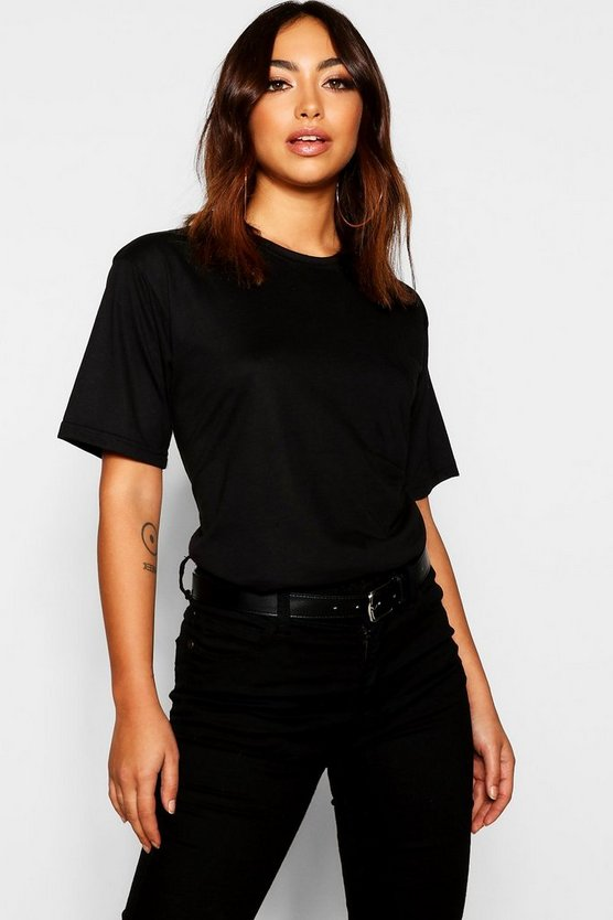Womens Black Basic Cotton Pocket Detail T-Shirt