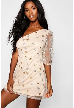 Womens Nude Sequin Star Print One Shoulder Bodycon Dress