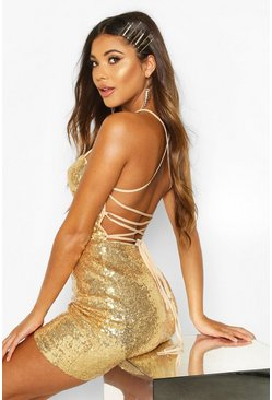 Womens Gold Sequin Strappy Back Bodycon Dress
