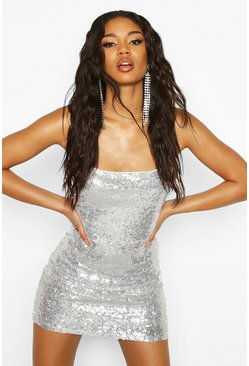 Silver Sequin Strappy Back Bodycon Christmas Party Dress