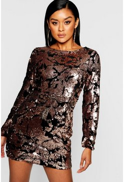 Womens Rose Sequin Long Sleeve Bodycon Dress