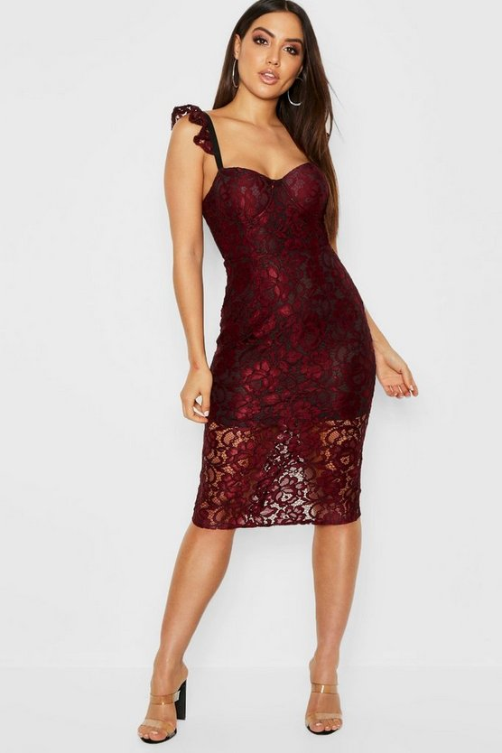 Womens Berry Lace Bustier Midi Dress