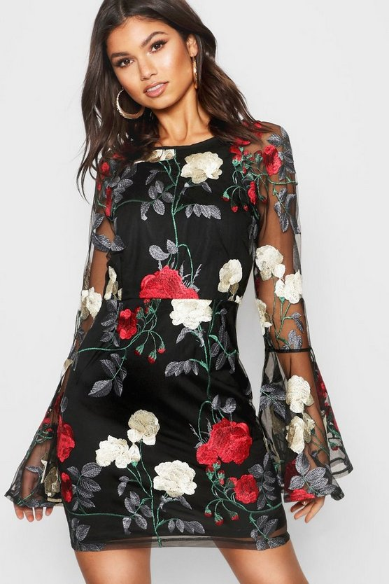 Womens Black Embroidered Flared Sleeve Bodycon Dress