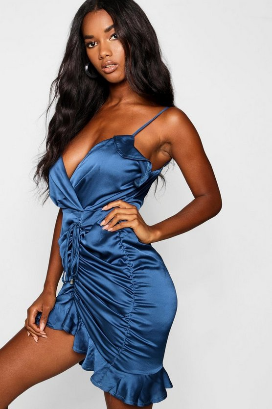Satin Ruched Detail Bodycon Dress
