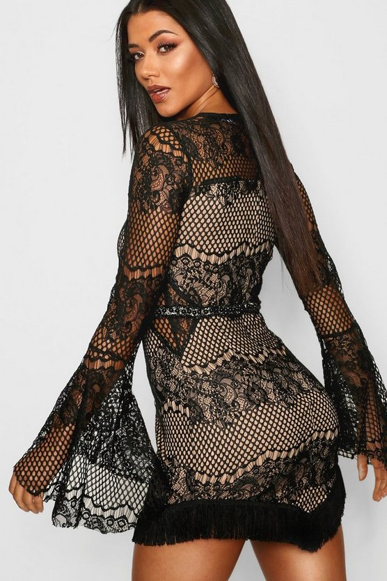 Lace Flared Sleeve Bodycon Dress
