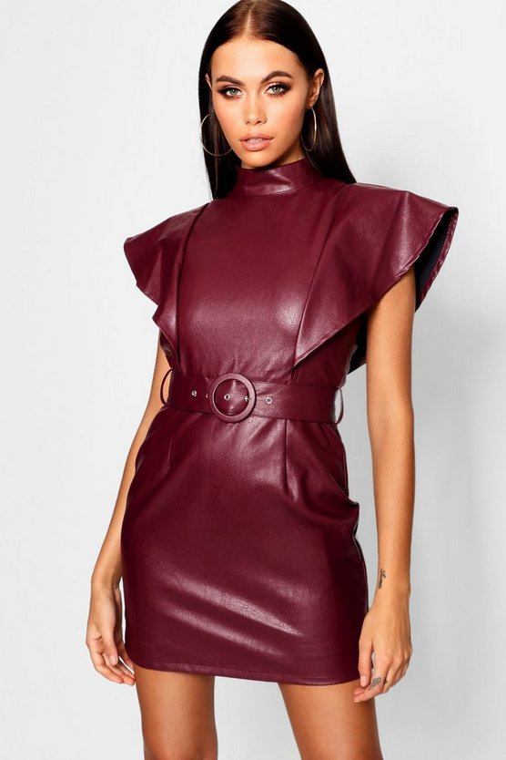 Womens Berry PU Belted Frill Shoulder Bodycon Dress