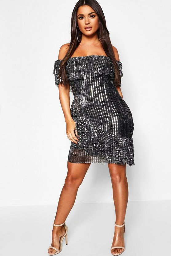 Womens Black Metallic Pleated Off The Shoulder Frill Dress