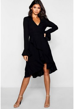 Womens Black Plunge Neck Frill Detail Midi Dress