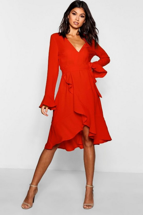 Plunge Neck Frill Detail Midi Dress