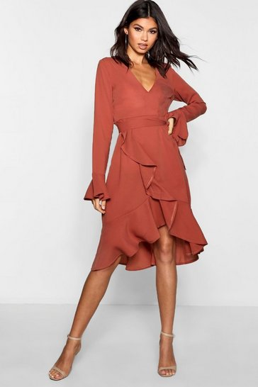 Womens Rose Plunge Neck Frill Detail Midi Dress