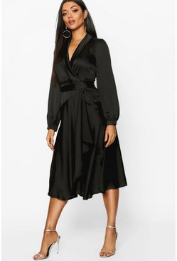 Womens Black Satin Wrap Detail Midi Skater Dress