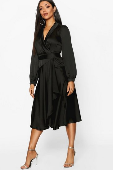 Black Satin Wrap Detail Midi Skater Dress