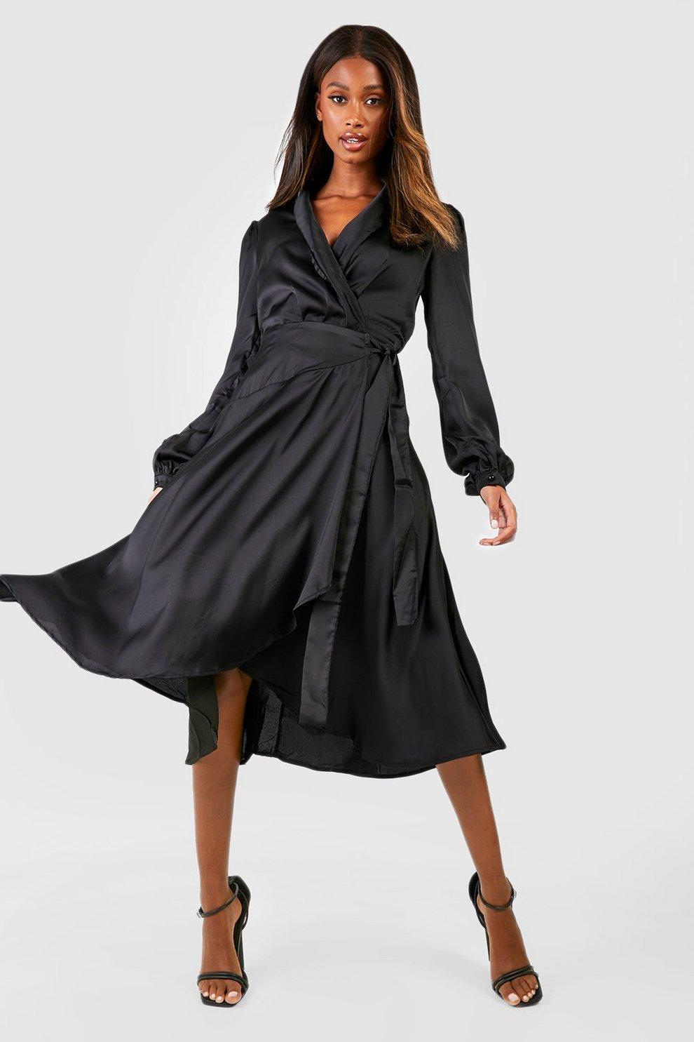 1ddce57ad51 Womens Black Satin Wrap Detail Midi Skater Dress