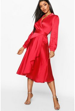 Womens Red Satin Wrap Detail Midi Skater Dress