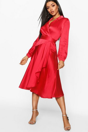 Red Satin Wrap Detail Midi Skater Dress