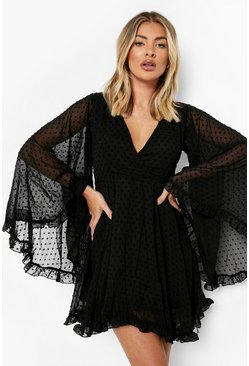 Womens Black Dobby Chiffon Wide Sleeve Skater Dress