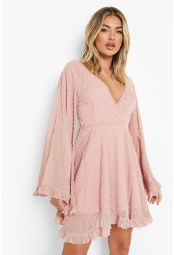 Womens Blush Dobby Chiffon Wide Sleeve Skater Dress